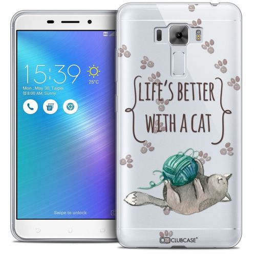 """Coque Crystal Gel Asus Zenfone 3 Laser ZC551KL (5.5"""") Extra Fine Quote - Life's Better With a Cat"""