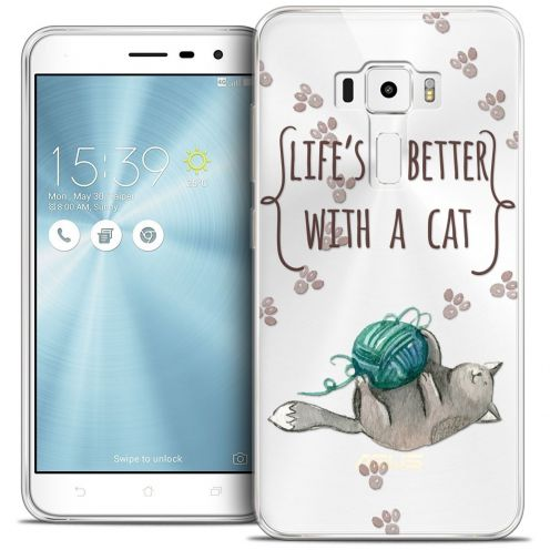 "Coque Crystal Gel Asus Zenfone 3 ZE552KL (5.5"") Extra Fine Quote - Life's Better With a Cat"