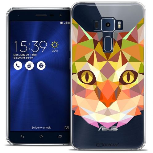 "Coque Crystal Gel Asus Zenfone 3 ZE552KL (5.5"") Extra Fine Polygon Animals - Chat"
