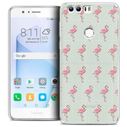 "Coque Crystal Gel Huawei Honor 8 (5.2"") Extra Fine Pattern - Les flamants Roses Dots"