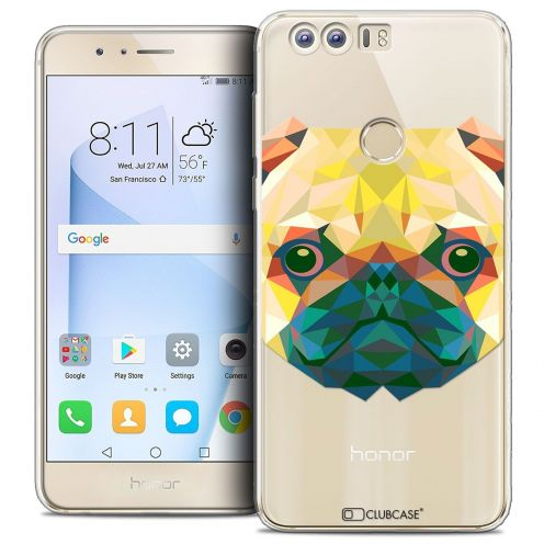 "Coque Crystal Gel Huawei Honor 8 (5.2"") Extra Fine Polygon Animals - Chien"