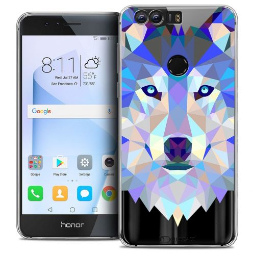 "Coque Crystal Gel Huawei Honor 8 (5.2"") Extra Fine Polygon Animals - Loup"