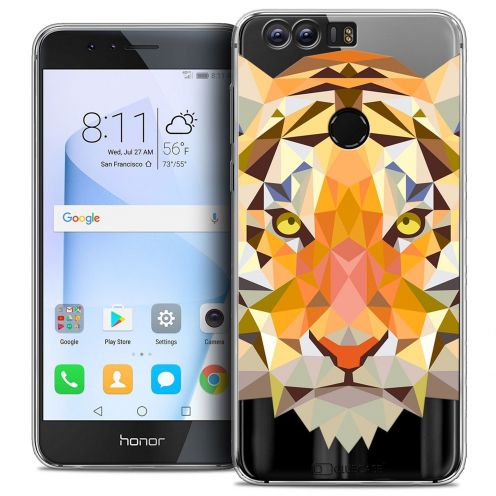 "Coque Crystal Gel Huawei Honor 8 (5.2"") Extra Fine Polygon Animals - Tigre"