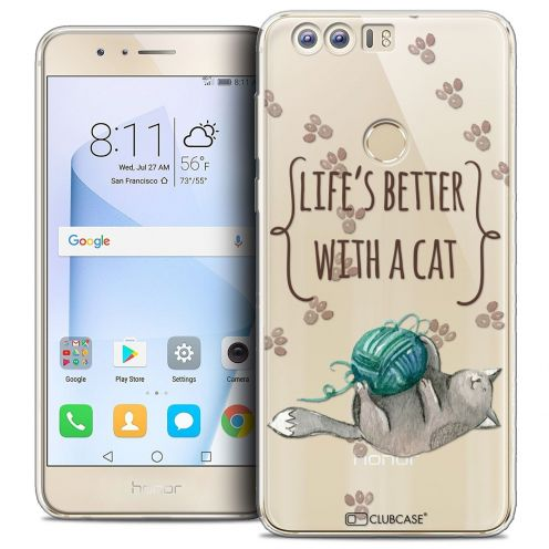 "Coque Crystal Gel Huawei Honor 8 (5.2"") Extra Fine Quote - Life's Better With a Cat"