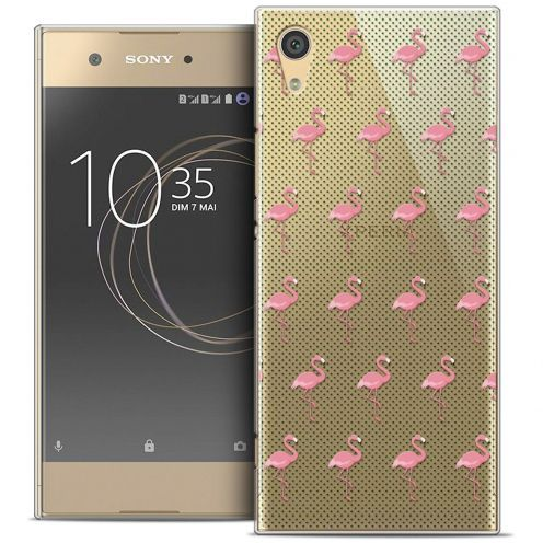 "Coque Crystal Rigide Sony Xperia XA1 (5"") Extra Fine Pattern - Les flamants Roses Dots"