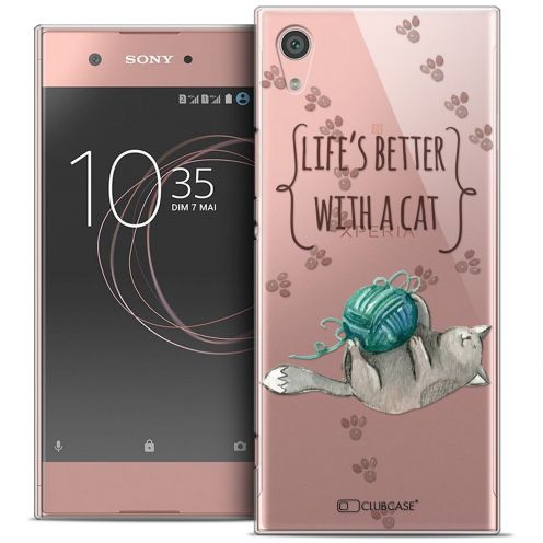 "Coque Crystal Rigide Sony Xperia XA1 (5"") Extra Fine Quote - Life's Better With a Cat"