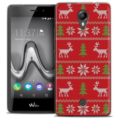 "Coque Crystal Gel Wiko Tommy (5"") Extra Fine Noël 2017 - Couture Rouge"