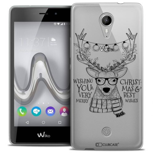 """Coque Crystal Gel Wiko Tommy (5"""") Extra Fine Noël 2017 - Cerf Hipster"""