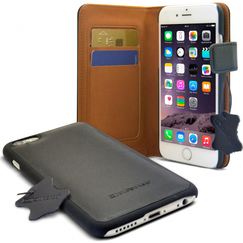 Cover Folio Wallet Genuine Leather Black for iPhone 6 Plus