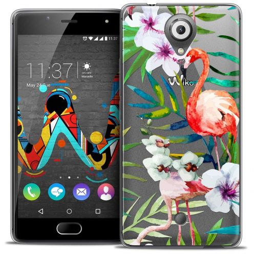 "Coque Crystal Gel Wiko U Feel (5"") Extra Fine Watercolor - Tropical Flamingo"