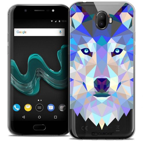 "Coque Crystal Gel Wiko Wim (5.5"") Extra Fine Polygon Animals - Loup"