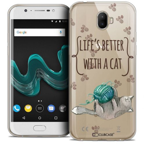 "Coque Crystal Gel Wiko Wim (5.5"") Extra Fine Quote - Life's Better With a Cat"