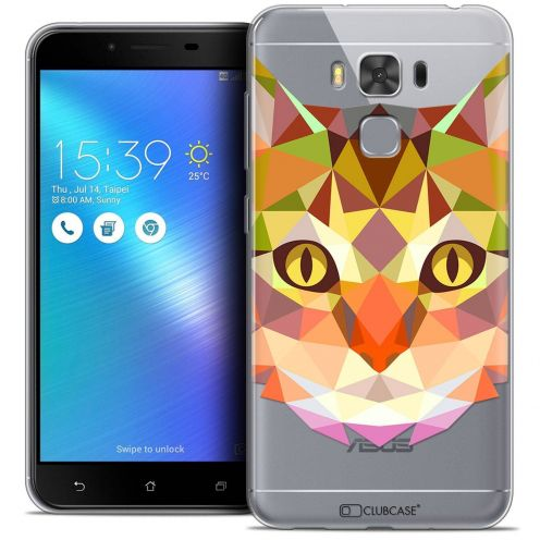"Coque Crystal Gel Asus Zenfone 3 Max Plus ZC553KL (5.5"") Extra Fine Polygon Animals - Chat"