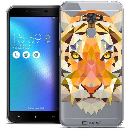 "Coque Crystal Gel Asus Zenfone 3 Max Plus ZC553KL (5.5"") Extra Fine Polygon Animals - Tigre"