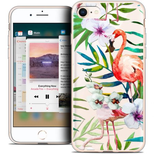 "Extra Slim Crystal Gel Apple iPhone 8 (4.7"") Case Pattern Les flamants Roses"