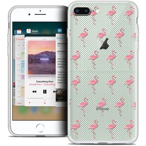 "Coque Crystal Gel Apple iPhone 8 Plus (5.5"") Extra Fine Pattern - Les flamants Roses Dots"