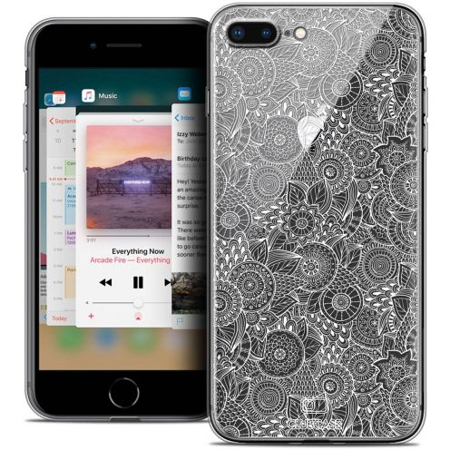 "Extra Slim Crystal Gel Apple iPhone 8 Plus (5.5"") Case Dentelle Florale Blanc"