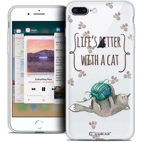 """Extra Slim Crystal Gel Apple iPhone 8 Plus (5.5"""") Case Quote Life's Better With a Cat"""