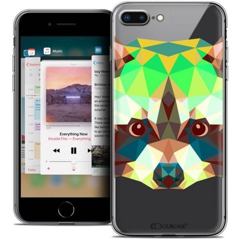 "Coque Crystal Gel Apple iPhone 8 Plus (5.5"") Extra Fine Polygon Animals - Raton Laveur"