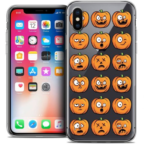 "Coque Crystal Gel Apple iPhone Xs / X (5.8"") Extra Fine Halloween - Cartoon Citrouille"