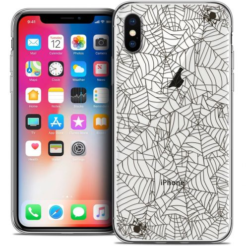 "Coque Crystal Gel Apple iPhone Xs / X (5.8"") Extra Fine Halloween - Spooky Spider"