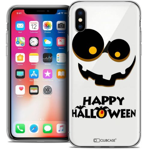 Extra Slim Crystal Gel Apple iPhone X (10) Case Halloween Happy