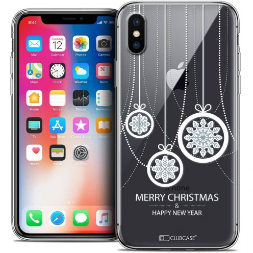 "Coque Crystal Gel Apple iPhone Xs / X (5.8"") Extra Fine Noël 2017 - Christmas Balls"