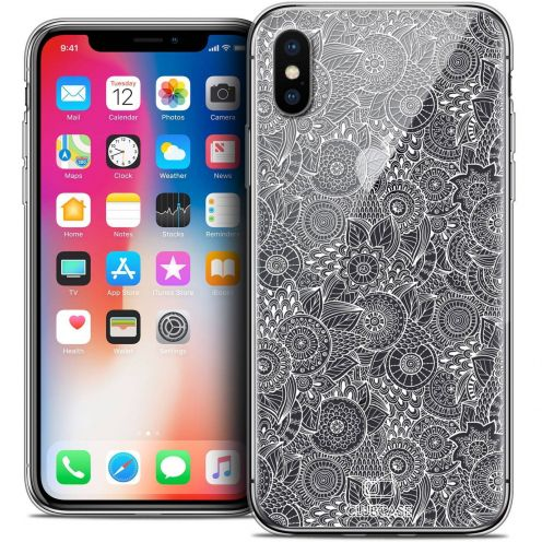 "Coque Crystal Gel Apple iPhone Xs / X (5.8"") Extra Fine Dentelle Florale - Blanc"