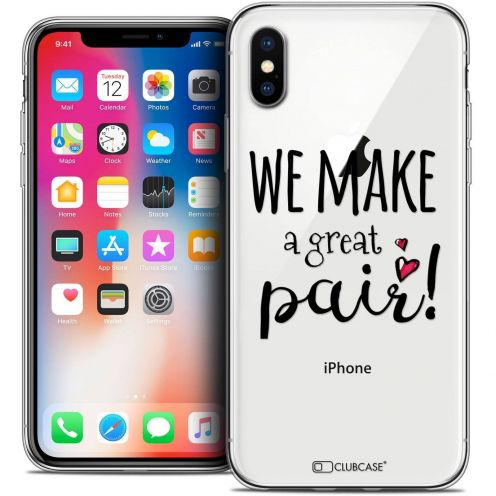 "Coque Crystal Gel Apple iPhone Xs / X (5.8"") Extra Fine Love - We Make Great Pair"