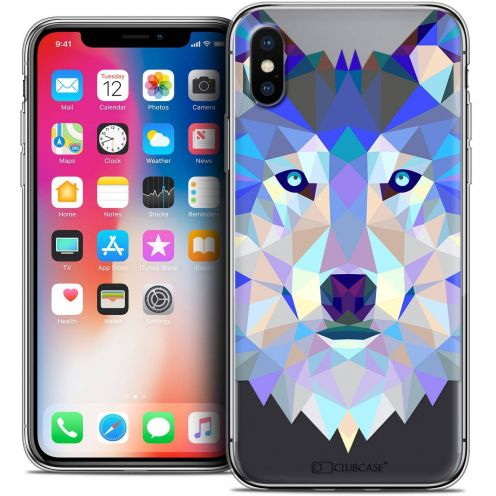 "Coque Crystal Gel Apple iPhone Xs / X (5.8"") Extra Fine Polygon Animals - Loup"