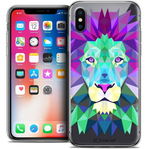 "Coque Crystal Gel Apple iPhone Xs / X (5.8"") Extra Fine Polygon Animals - Lion"