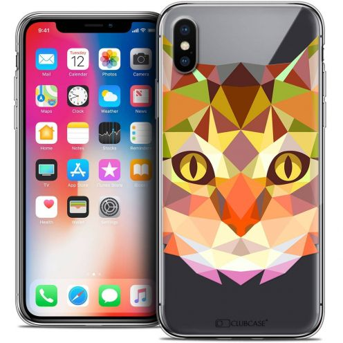 "Coque Crystal Gel Apple iPhone Xs / X (5.8"") Extra Fine Polygon Animals - Chat"