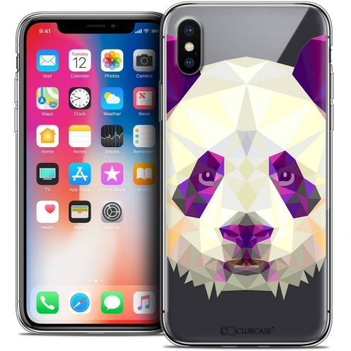 "Coque Crystal Gel Apple iPhone Xs / X (5.8"") Extra Fine Polygon Animals - Panda"