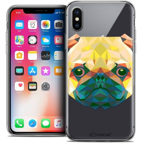 Extra Slim Crystal Gel Apple iPhone X (10) Case Polygon Animals Dog