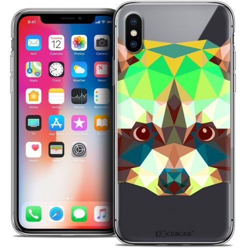 "Coque Crystal Gel Apple iPhone Xs / X (5.8"") Extra Fine Polygon Animals - Raton Laveur"