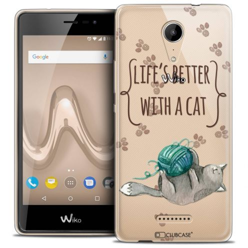 "Coque Crystal Gel Wiko Tommy 2 (5"") Extra Fine Quote - Life's Better With a Cat"
