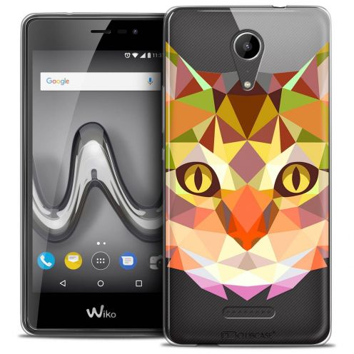 "Coque Crystal Gel Wiko Tommy 2 (5"") Extra Fine Polygon Animals - Chat"