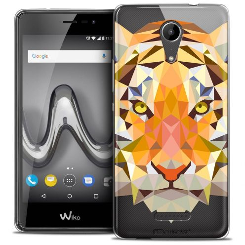 "Coque Crystal Gel Wiko Tommy 2 (5"") Extra Fine Polygon Animals - Tigre"