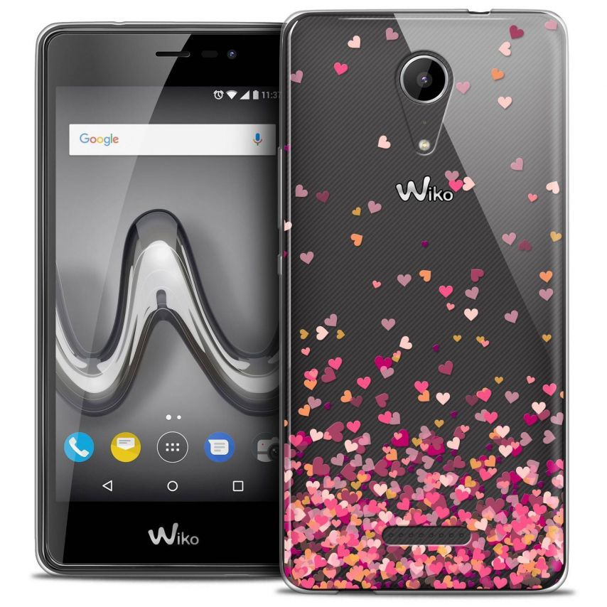 """Coque Crystal Gel Wiko Tommy 2 (5"""") Extra Fine Sweetie - Heart Flakes"""