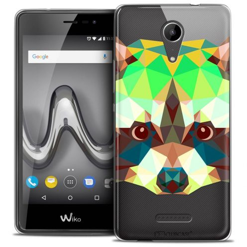 "Coque Crystal Gel Wiko Tommy 2 (5"") Extra Fine Polygon Animals - Raton Laveur"