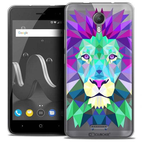 """Coque Crystal Gel Wiko Jerry 2 (5"""") Extra Fine Polygon Animals - Lion"""