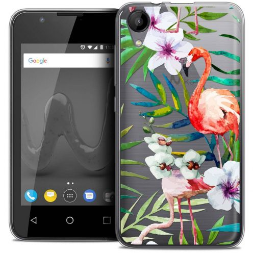 "Coque Wiko Sunny 2 Crystal Gel (4"") Extra Fine Watercolor - Tropical Flamingo"