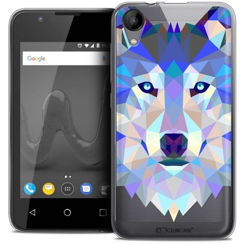 "Coque Wiko Sunny 2 Crystal Gel (4"") Extra Fine Polygon Animals - Loup"