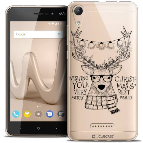 "Coque Crystal Gel Wiko Lenny 4 (5"") Extra Fine Noël 2017 - Cerf Hipster"