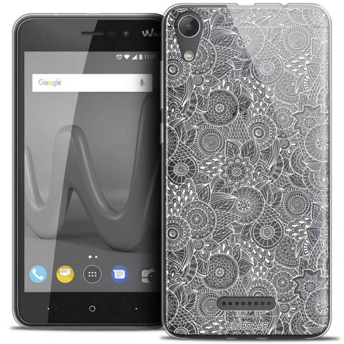 "Coque Crystal Gel Wiko Lenny 4 (5"") Extra Fine Dentelle Florale - Blanc"