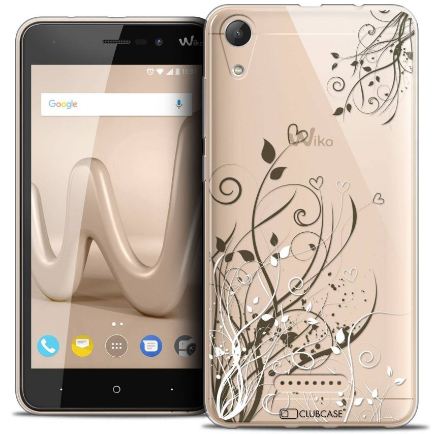 """Coque Crystal Gel Wiko Lenny 4 (5"""") Extra Fine Love - Hearts Flowers"""