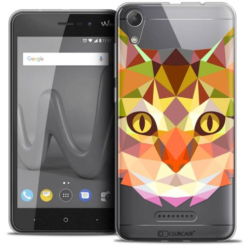 "Coque Crystal Gel Wiko Lenny 4 (5"") Extra Fine Polygon Animals - Chat"