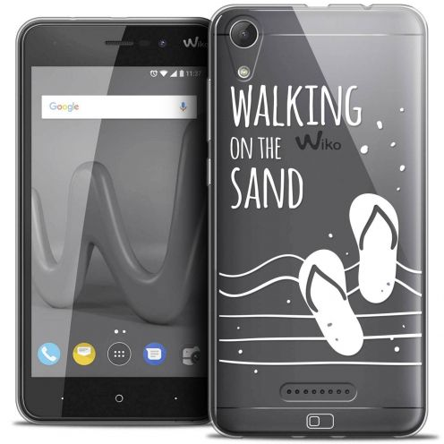 """Extra Slim Crystal Gel Wiko Lenny 4 (5"""") Case Summer Walking on the Sand"""