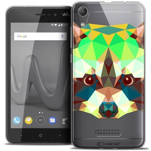 "Coque Crystal Gel Wiko Lenny 4 (5"") Extra Fine Polygon Animals - Raton Laveur"