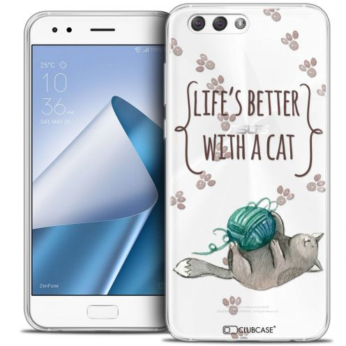 """Coque Crystal Gel Asus Zenfone 4 ZE554KL (5.5"""") Extra Fine Quote - Life's Better With a Cat"""